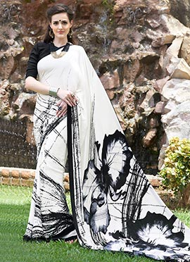 White N Black Crepe Printed Abstract Designed Saree
