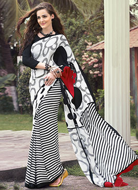 White N Black Crepe Printed Half N Half Saree