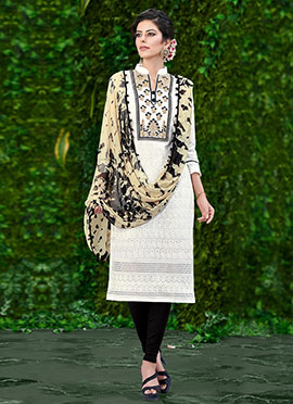 White N Black Embroidered Churidar Suit