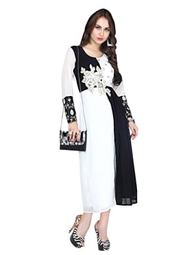 White N Black Georgette Kurti