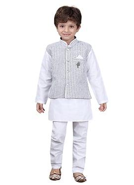 White N Grey Kids Kurta Pyjama
