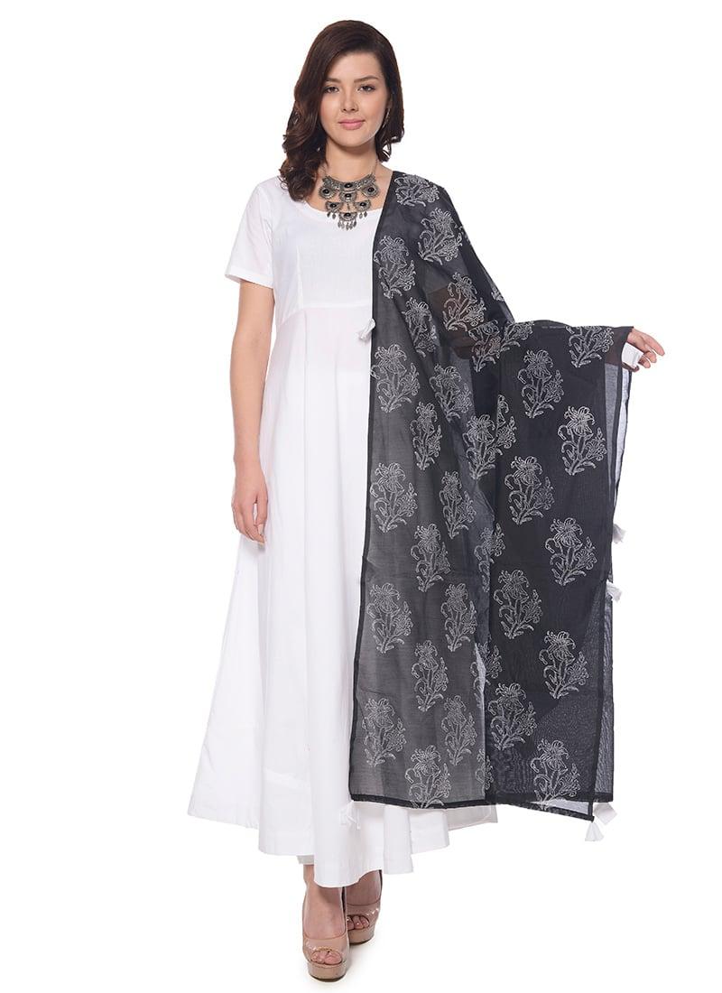 5292cf8f31 Buy White N Black Plain Abaya Style Anarkali Suit, Block Print ...