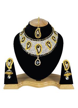 White N Black Zircon Stone Choker Necklace Set