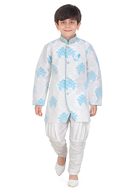 White N Blue Art Silk Kids Kurta Pyjama