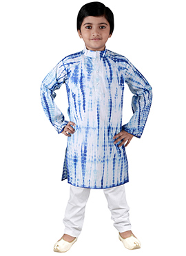 White N Blue Blended Cotton Kids Kurta Pyjama