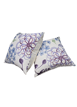 White N Blue Cotton Cushion Cover