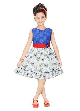 White N Blue Cotton Kids Dress
