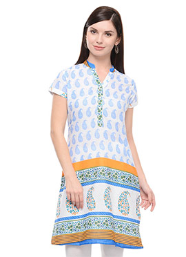 White N Blue Cotton Printed Short Kurti