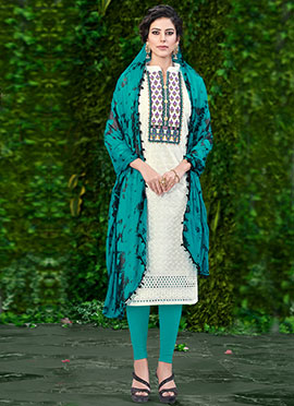White N Blue Embroidered Churidar Suit