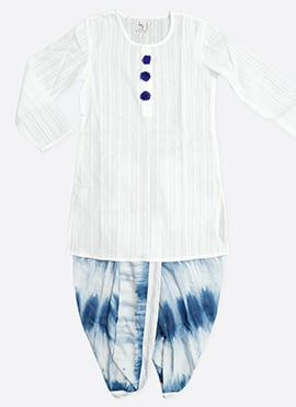 White N Blue Kids Dhoti Kurta Set