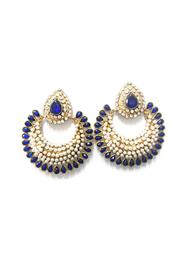 White N Blue Moti N Stone Ornate Chand Balis
