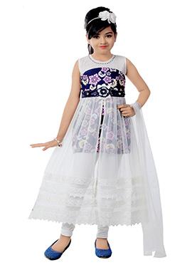 White N Blue Net N Lycra Kids Salwar Kameez