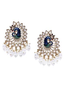 White N Blue Peacock Design Drops Earrings