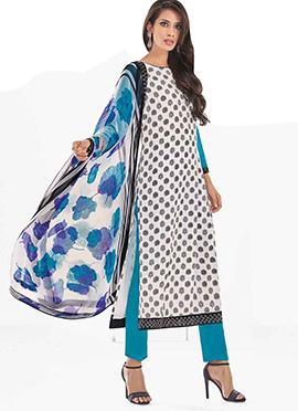White N Blue Printed Straight Suit