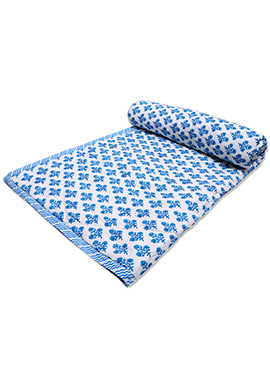 White N Blue Pure Cotton Double Sided Quilt