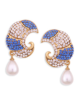 White N Blue Stone Embellished Drops