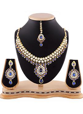 White N Blue Stone Necklace Set