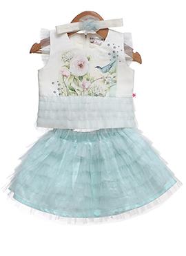 White N Blue Taffeta Silk Kids Dress