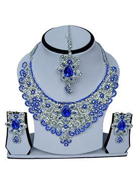White N Blue Zircon Stone Necklace Set