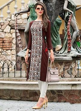 White N Brown Cotton Kurti