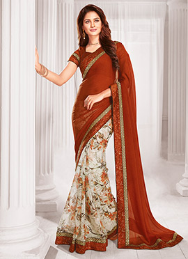 White N Brown Half N Half Saree