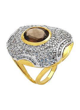 White N Brown Smoky Topaz Ring