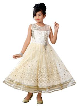 White N Cream Net Kids Gown
