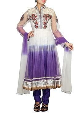 White N Dark Lavender Net Anarkali Suit