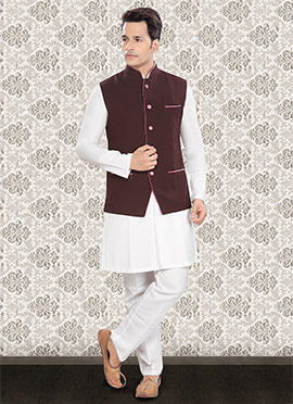 White N Dark Maroon Linen Nehru Set