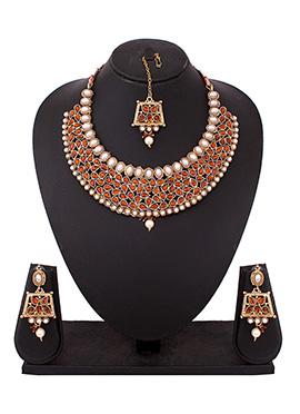 White N Dark Orange Necklace Set