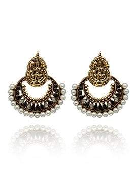 White N Gold Colored Chand Bali Earrings