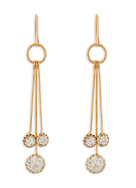 White N Gold Colored Danglers