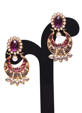 White N Gold Colored Traditsiya Chand Bali Earring