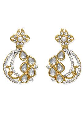 White N Gold Dangler Earring