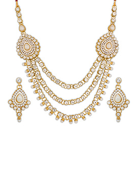 White N Gold Layered Necklace Set