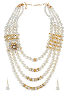 White N Gold Necklace Set