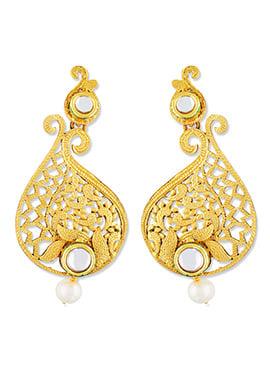 White N Gold One Stop fashion Dangler Earrings