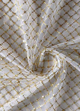 Ready To Dye Sequins Embroidered Net Fabric