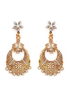 White N Golden Chaand Bali Earring