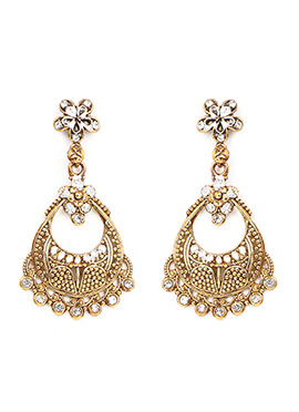 White N Golden Chaand Bali Earring