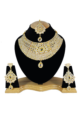 White N Golden Zircon Stone Choker Necklace Set