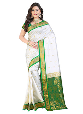 White N Green Art Silk Saree