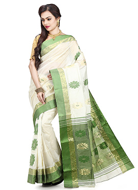 White N Green Cotton Tant Saree