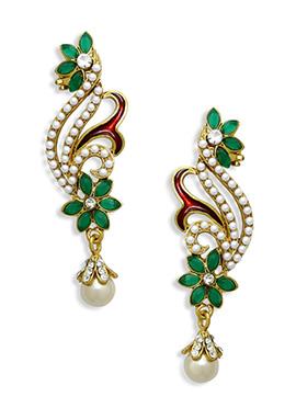 White N Green Beads Ear Cuffs