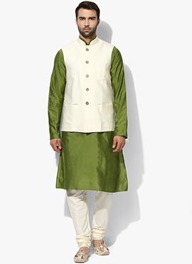 White N Green Benarasi Cotton Silk Bandi Set