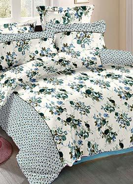 White N Green Cotton Bed Sheet