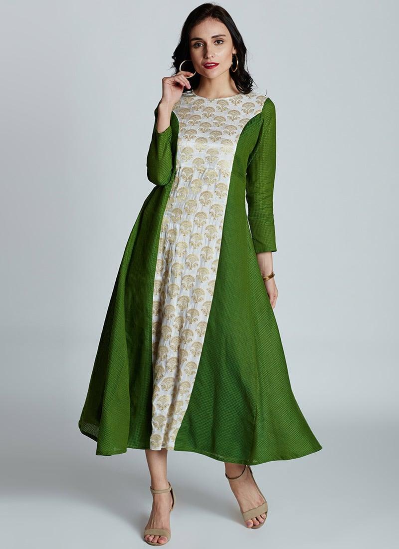 0937f6e594 Buy White N Green Cotton Dress