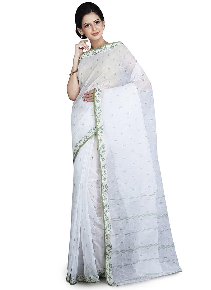 7d608ca8b3 Buy White N Green Cotton Tant Saree