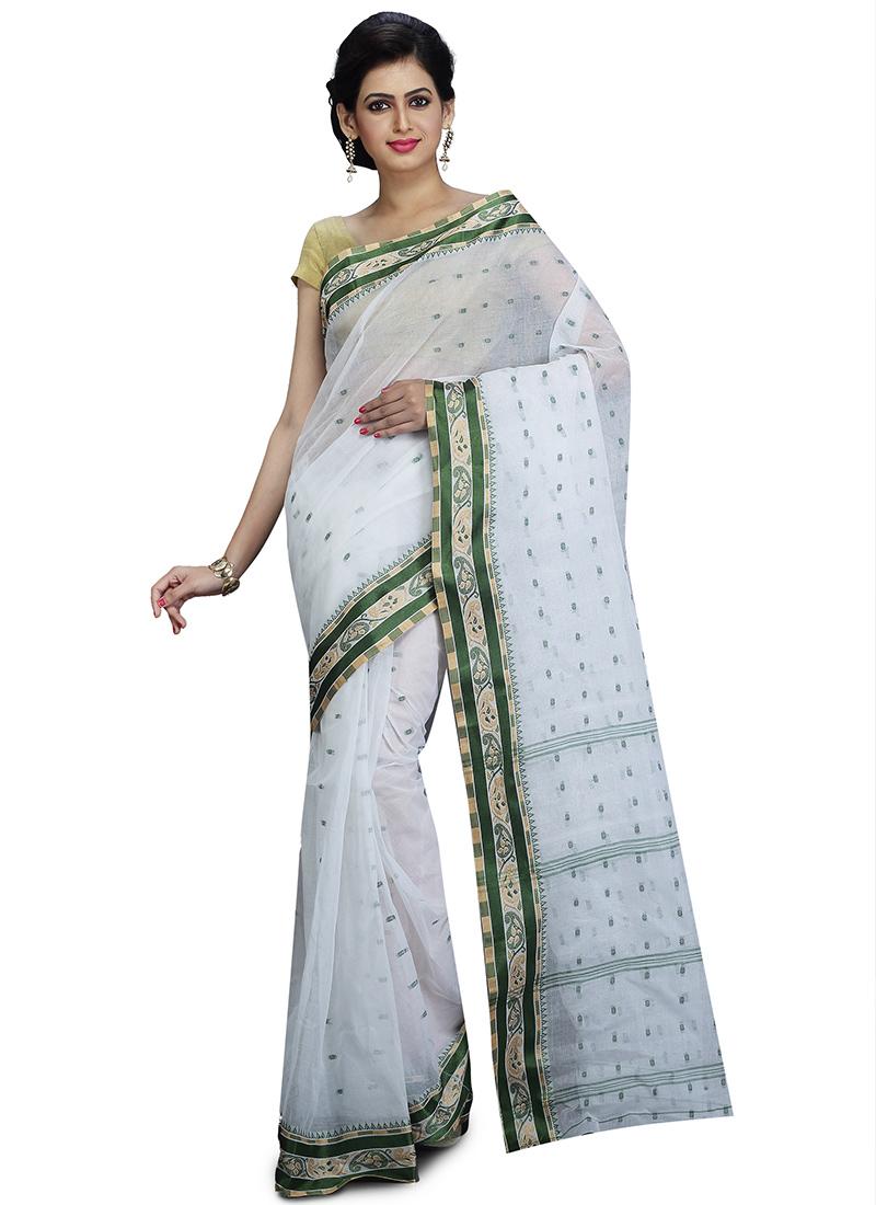 60a25222ab Buy White N Green Handloom Cotton Tant Saree