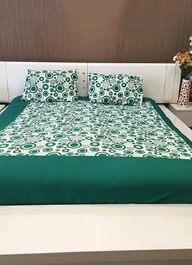 White N Green Pure Cotton Bed Sheet